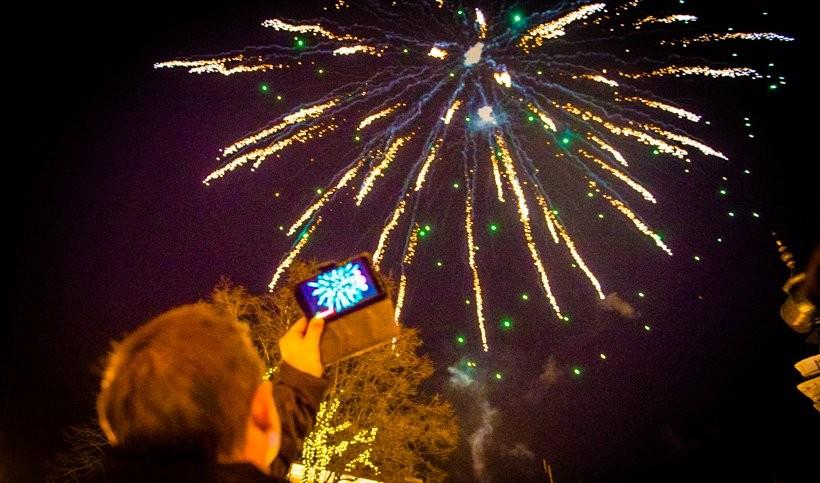 Pokaz fajerwerków w Wadowicach