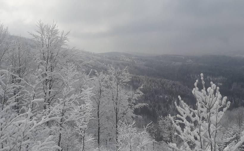 Widok z trasy na Leskowiec z niedzieli (25.02)