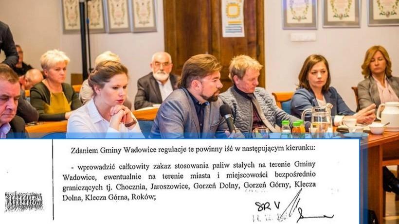 """W piątek ujawniono dokument z którego wynika, że burmistrz Klinowskiod ponad roku zabiega o wprowadzenie w gminie """"całkowitego zakazu spalania paliw stałych"""""""