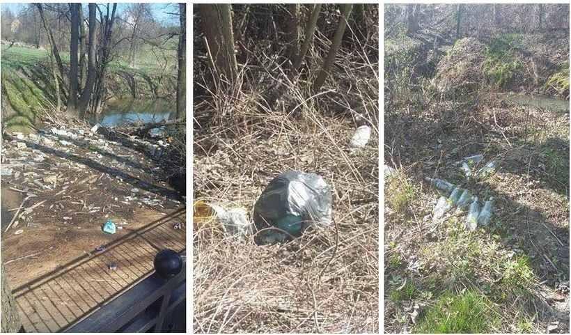 Śmieci rozrzucone po Kleczy Dolnej znajdują się nawet w rzece