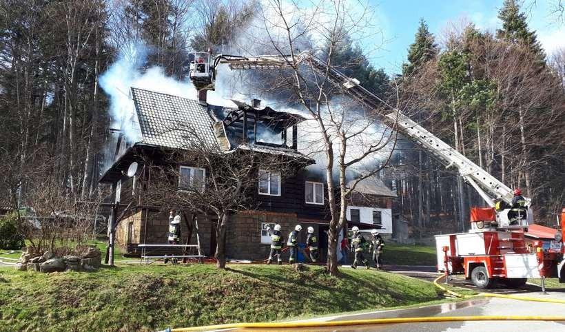 Pożar drewnianego domu w Kocierzu Rychwałdzkim