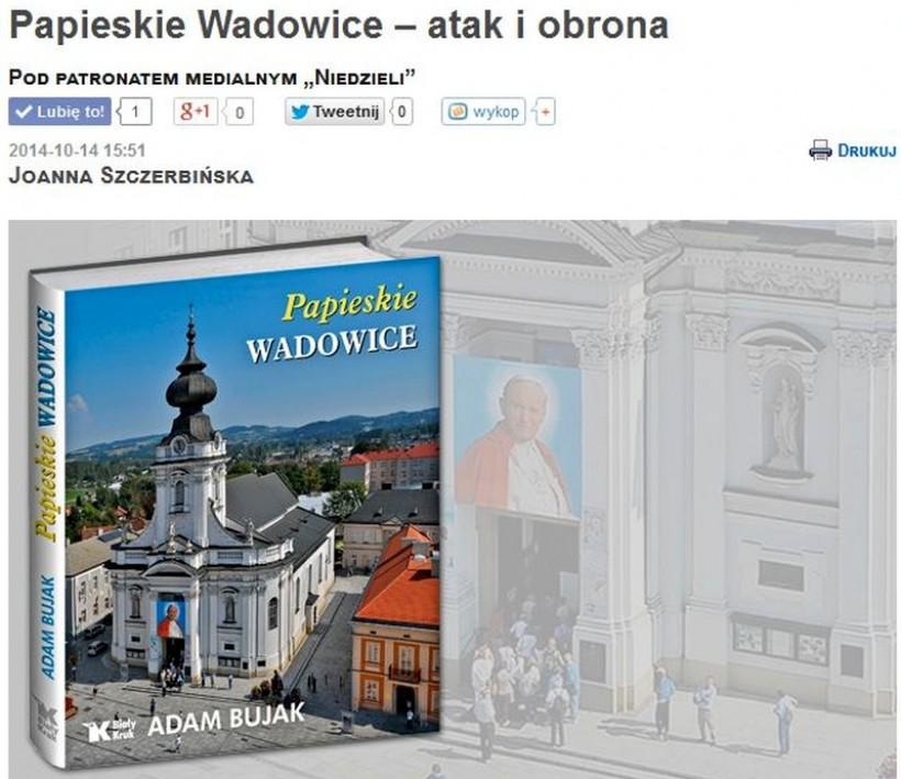 Tygodnik katolicki Niedziela w obronie Wadowic