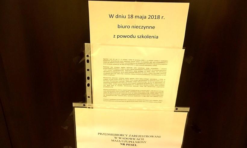 W Urzędzie Miasta w Wadowicach zaniepokojeni informacją medialną o CEIDG nic nie mogli dziś załatwić, bo pracownicy byli na szkoleniach