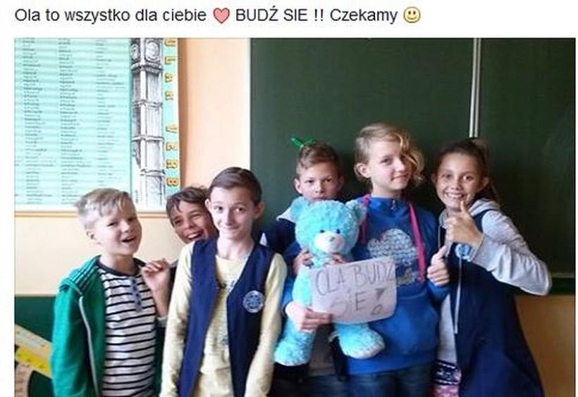 Dzieci ze szkoły codziennie modlą się o to by Ola wydobrzała