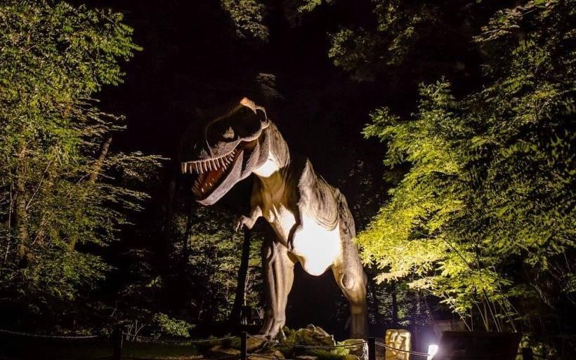 Dinozaury napotkane w lesie nocą mogą nieźle wystraszyć. To trzeba przeżyć!