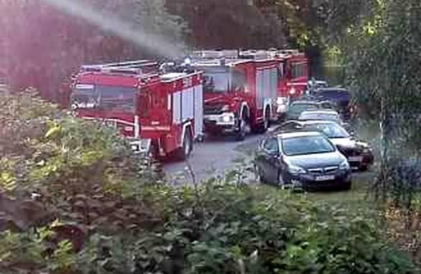 Kilka jednostek strazy pożarnej wyciągało karetkę z rzeki
