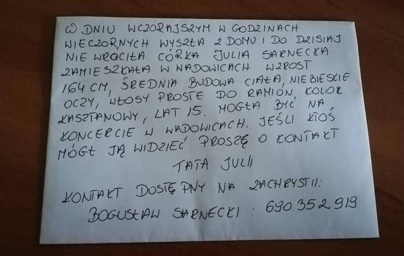 Rodzice szukają Julki z Wadowic, mogła być na Reggae Moście. Pomóżcie!