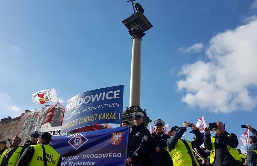 Policjanci z Wadowic na manifestacji w Warszawie