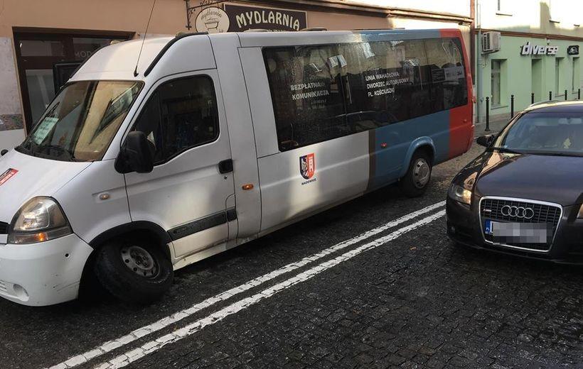 Miejski bus w Wadowicach stracił koło
