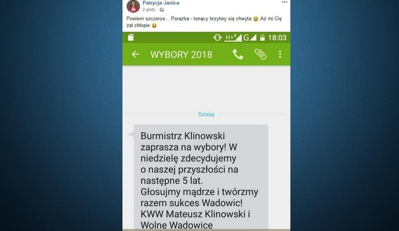 """Tuż przed ciszą wyborczą Klinowski wysyła do ludzi SMS: """"Tonący brzytwy się chwyta"""""""