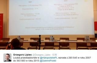 Członek Zarządu Wojeództwa Małopolwksiego, Grzegorz Lipiec, przedstawia statystyki wzrostu gospo. w Małopolsce