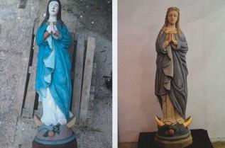 Kapliczka z Miejsca przed i po renowacji