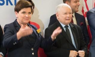 Beata Szydło i Jarosław Kaczyński na spotkaniu z wyborcami w Wadowicach