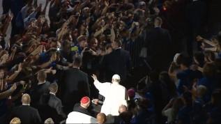 Pożegnanie wolontariuszy z papieżem Franciszkiem podczas ŚDM