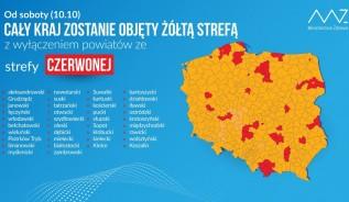 Od soboty cała Polska w strefie żółtej, obowiązek zakrywania nosa i ust
