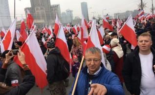 Józef Brynkus na marszu w Warszawie