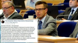 Pamiętam doskonale, jak parę miesięcy po objęciu urzędu burmistrza chwalił się pełną przejrzystością! Szczyt hipokryzji!!! - skomentował na Facebooku radny Sejmiku Filip Kaczyński