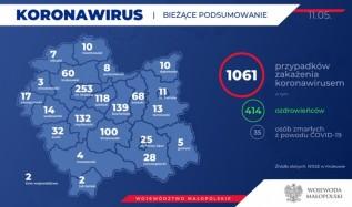 Raport o koronawirusie. Infekcja aktywna tylko w jednej małej wiosce w powiecie wadowickim