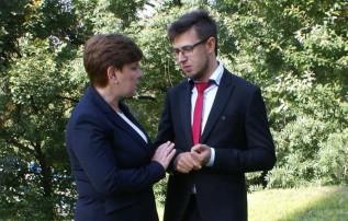 Filip Kaczyński i Beata Szydło, kandydatka PiS na premiera