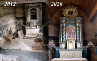 Tak zmienił się środek kościółka w Tłuczani